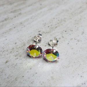 925 Sterling Silver Rainbow Stud Earrings